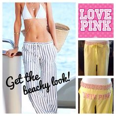 """VICTORIAS SECRET  beach or lounge pants These cute loose fit pants can be worn to lounge around or to the beach! Cute yellow cotton seersucker fabric w/ contrasting pink floral waistband. Has 'UNIV. OF PINK"""" on the booty. Wear the pants long w/ the waistband flat or fold it over to expose the floral fabric. Back waistband has elastic. Roll them up for a Capri look as it has pant tabs & button to hold it up. Front pockets, ribbon drawstring. Good condition. Approx measurements laying flat…"""