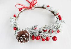 Pine Cone Winter Crown Holly Berry Halo Frosted by HandyCraftTS Christmas Time, Christmas Crafts, Holiday, Christmas Wedding, Childrens Ministry Christmas, Handmade Hair Bows, Christmas Hairstyles, Newborn Headbands, Floral Crown