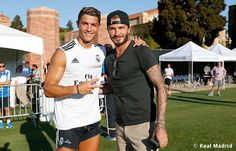Real Madrid soccer star Cristiano Ronaldo leaving The Beverly Hills Hotel in Beverly Hills, California with his fellow teammates on July (& hottie David Beckham) David Beckham, Fifa Football, Football Memes, Alabama Football, Good Soccer Players, Football Players, Real Madrid Soccer, Cristiano Ronaldo Cr7, Sporting