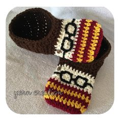 Crochet Adult Harry Potter inspired slippers. One by YCreation