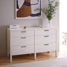"Jones 6-Drawer Dresser - White Lacquer | west elm, 56""w x 19""d x 34""h"