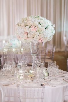 Posh Peony Wedding at Pelican Hill in Newport Beach California featured gorgeous reception with elevated florals, lush blush and cream color palette, chandelier flowers, and romantic candlelight. Romantic Centerpieces, Wedding Reception, Wedding Day, Romantic Look, Spray Roses, Newport Beach, Luxury Wedding, Peony, Event Design
