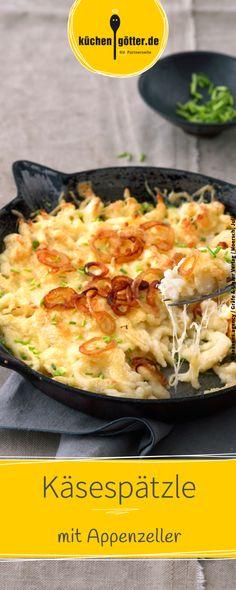 Rezept für selbstgemachte Käsespätzle mit Appenzeller.