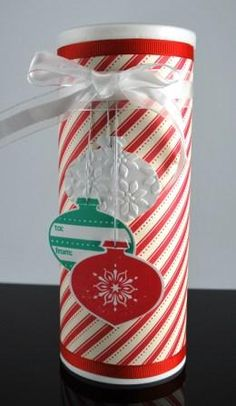 An embellished Crystal Light container makes the perfect package for Christmas cookie gift-giving!