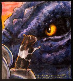 Daily Napkins: Fluffy the Hamster with Godzilla
