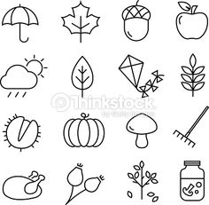 Collection of autumn icons - autumn symbols and activities. Thin lines style.