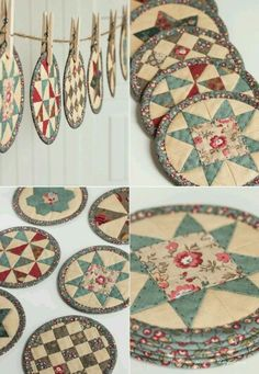 Quilted coasters or mug rugs. Patchwork Quilt, Mini Quilts, Small Quilts, Small Quilt Projects, Quilting Projects, Sewing Projects, Quilted Coasters, Quilted Potholders, Fabric Crafts