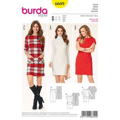 Our shift dress with shallow neckline can go from sporty to an evening out on the town. The sleek lines along with shallow neckline are perfect for showing off accessories. A Burda Style sewing pattern. Burda Sewing Patterns, Clothing Patterns, Dress Patterns, Linen Dress Pattern, Shift Dress Pattern, Bobe, Miss Dress, Sewing Clothes, Pattern Fashion