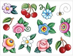 Cherries & Flowers Accent Dazzlers from Mary Engelbreit