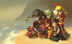 Fan Art of Story Time for fans of Young Justice. All the of young justice gather around Aqualad as he reads them a story.