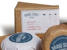 labels are designed to secure the cheese's paper wrapping and to act as informational guides for the customers