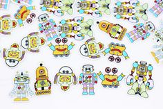 Robots Wooden Button Machine Men Wood by boysenberryaccessory