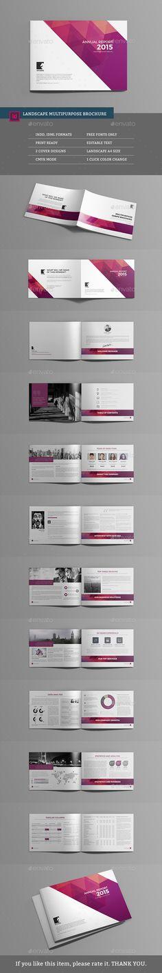Landscape Multipurpose Brochure Template InDesign INDD #design Download: http://graphicriver.net/item/landscape-multipurpose-brochure/14009582?ref=ksioks