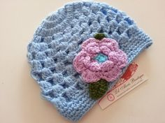 Blue crochet hat with purple crochet flowers for baby infant newborn girl fall winter photo prop via Etsy