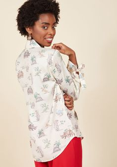 Positive Professionalism Button-Up Top in Dino | ModCloth