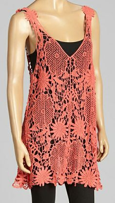 Coral Crochet Tank Top / Tunic / Swimsuit Coverup