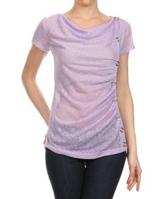 Look what I found on #zulily! Lilac Sheer Embellished Drape Top by J-Mode USA Los Angeles #zulilyfinds