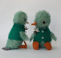 Erika Olson Gross/foxandfowl - hand dyed green mohair duckling with jointed head