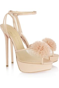 Charlotte Olympia - + Agent Provocateur Candice crystal pompom silk sandals e70209433