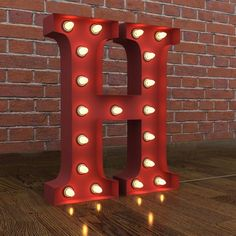 H HARFİ KIRMIZI- VİNTAGE MARQUEE H LETTER LIGHT RED