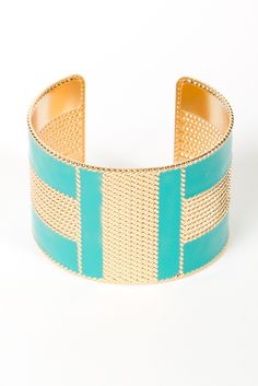 TURQUOISE AND GOLD ENAMEL CUFF