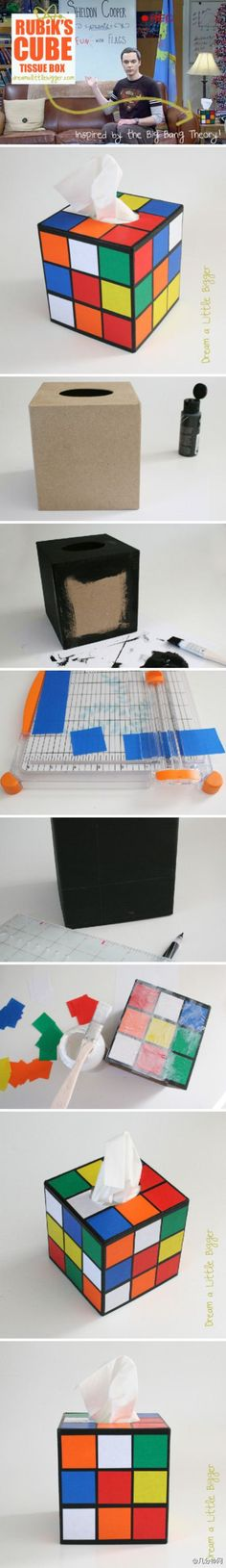 Cute and easy to do - Rubiks Cube tissue box holder! Can make this as gift for guys (who like Rubiks Cube)! Geek Crafts, Fun Crafts, Diy And Crafts, Arts And Crafts, Paper Crafts, Diy Projects To Try, Craft Projects, Deco Gamer, Ideias Diy