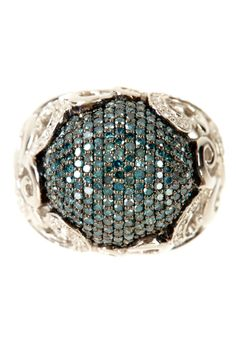 Pave Blue Diamond Round Scroll Ring - 1.00 ctw