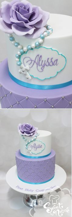 Alyssa's First Holy Communion cake featured a stunning purple sugar rose, rosary beads, and a hand piped plaque. The top tier was chocolate mud cake with a vanilla cookie-crunch filling and the base tier was classic vanilla pound cake with a white chocolate buttercream and raspberry swirl filling | Made by Sweet by Nature, Melbourne VIC