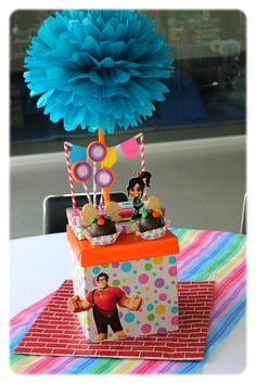 Ralph the wrecker party for a girl - Celebrat : Home of Celebration, Events to Celebrate, Wishes, Gifts ideas and more ! 1st Birthday Party For Girls, 11th Birthday, Halloween Birthday, Daughter Birthday, Baby Birthday, Birthday Party Themes, Birthday Ideas, Birthday Cake, Disney Centerpieces