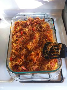 gluten free spaghetti squash. One spaghetti squash, spicy ground sausage, spaghetti sauce. I also added Chopped Kale and shredded carrots.