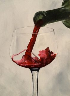 Acrylic on Canvas - Red wine poured into a glass