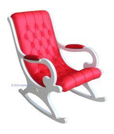 Schaukelstuhl weiß und rot mit Kunstleder art. VIS-01_21, www.frankmoebel.com Made in Italy 100 % by Arteferretto
