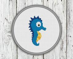 Cute Blue Seahorse Counted Cross Stitch Pattern von CrossStitchShop