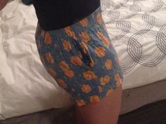 Side view of pj shorts with secret pockets