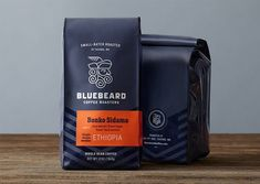 "Seattle-based studio Partly Sunny, developed this bold visual identity and retail packaging system for Bluebeard Coffee Roasters. ""Style and simplicity helped Bluebeard cut through the… Pouch Packaging, Coffee Packaging, Coffee Branding, Food Packaging, Brand Packaging, Design Packaging, Packaging Ideas, Retail Packaging, Coffee Labels"
