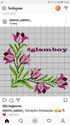 Beaded Cross Stitch, Cross Stitch Rose, Cross Stitch Flowers, Cross Stitch Embroidery, Embroidery Patterns, Hand Embroidery, Free Cross Stitch Charts, Cross Stitch Borders, Modern Cross Stitch Patterns