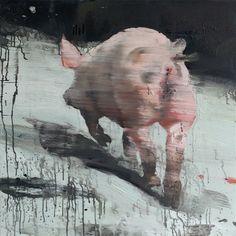 Tor-Arne Moen - Running Pig, egg-oil on canvas
