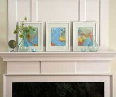 (mantel) frame maps and line them on your mantel... beautiful!  would be neat to flag the places you have visited.