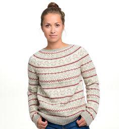 Kul retro genser strikkes i økologisk ull.