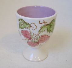 Egg Cup Strawberry Plant White Ceramic Pottery Vintage Purple Green Leaves Vines #Strawberry #EggCup #Pottery