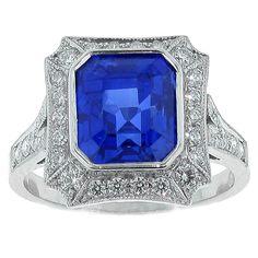 Burma Not Heat Sapphire and Diamond Ring | 1stdibs.com