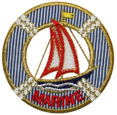 """[Single Count] Custom and Unique (2 3/4"""" Inches) Round Marine Sailboat Nautical Boat Ship Lifesaver Iron On Embroidered Applique Patch {Red, Blue, Gold and White Colors}"""