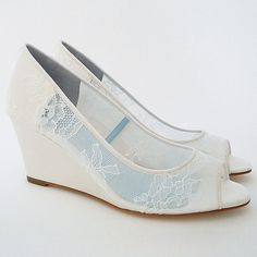 Winnie Lace Wedge Wedding Shoes ~ Bella Belle Wedding Shoes. Flirty and Feminine lace wedge with peep toe & silk covered wedge heel. Perfect for an outdoor wedding & those looking for a moderate heel height.