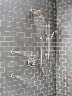Delta Shower System with HydraChoice Body Sprays, Showerhead, and Hand Shower Shower Jets, Spa Shower, Have A Shower, Walk In Shower, Grey Color Pallets, Master Bath Remodel, Master Bathroom, Multiple Shower Heads, Shower Installation