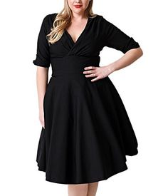 """Product review for Nemidor Women's Vintage 1950s Style Sleeved Plus Size Swing Dress.  - Nemidor® Women's Vintage 1950s Style Sleeved Plus Size Cocktail Swing Dress       Famous Words of Inspiration...""""Health food makes me sick.""""   Calvin Trillin — Click here for more from Calvin ..."""