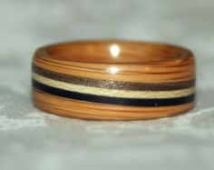 Wooden Ring with Diagonal Inlay/s (Bent Wood Method)