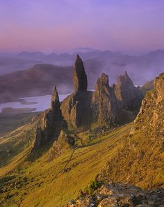 Old Man of Storr, Skye, Scotland. There are a number of legends surrounding this formation. Take some time, google it, and enjoy the stories.