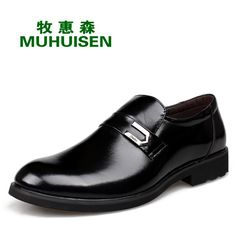 58.25$  Buy here - http://ali3i8.worldwells.pw/go.php?t=32745440788 - MUHUISEN brand business shoes Genuine leather Metal decoration Set foot loafers black Leather shoes mocassim masculino