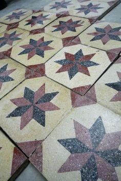 antique Zemetfliesen carreaux de mosaïque tuiles tuiles op art géométrique terrazzo star