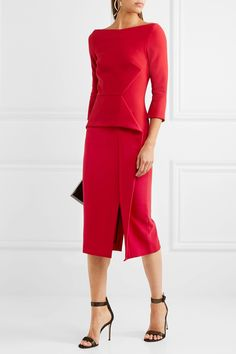 Red crepe Zip fastening through back  67% polyester, 29% viscose, 4% elastane; lining: 68% acetate, 32% polyester Dry clean  Designer color: Rose Red